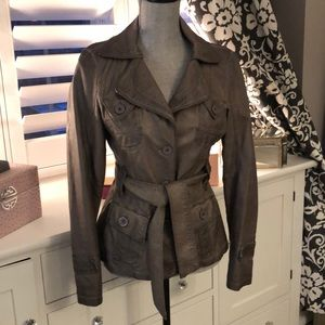 Faux Leather Jacket with tie belt Gray